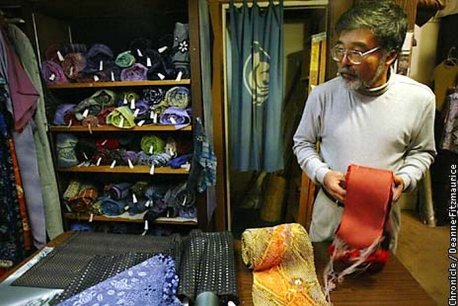 KASURIB-C-23JAN03-MT-DF  Koji Wada, owner, Kasuri Dyeworks in Berkeley. They will be closing their doors for retirement. They specialize in exquisite Japanese fabrics.  CHRONICLE PHOTO BY DEANNE FITZMAURICE Photo: Deanne Fitzmaurice