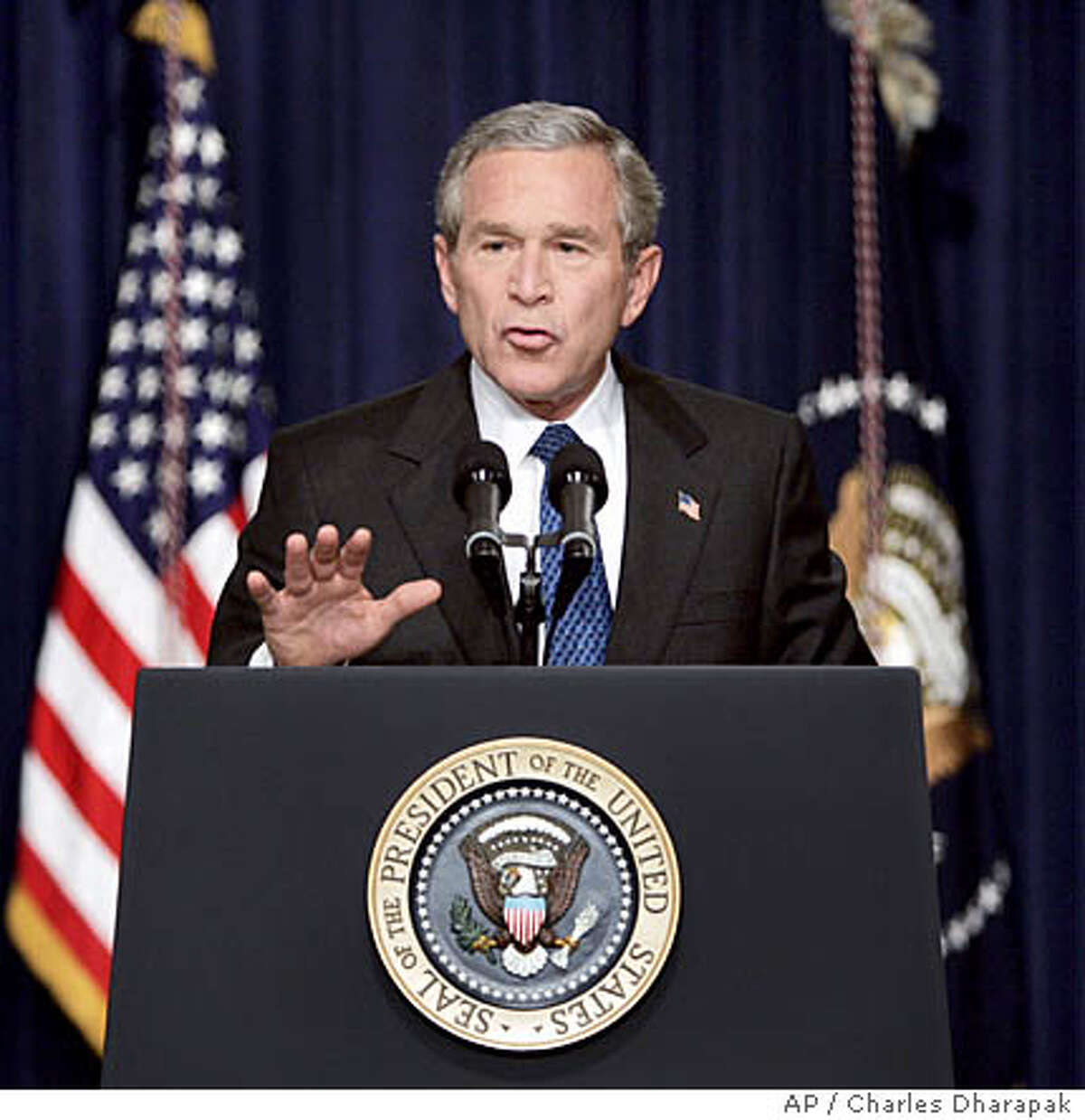 President Bush speaks to reporters at his first news conference following his re-election at the Eisenhower Executive Office Building Thursday, Nov. 4, 2004 in Washington. (AP Photo/Charles Dharapak)