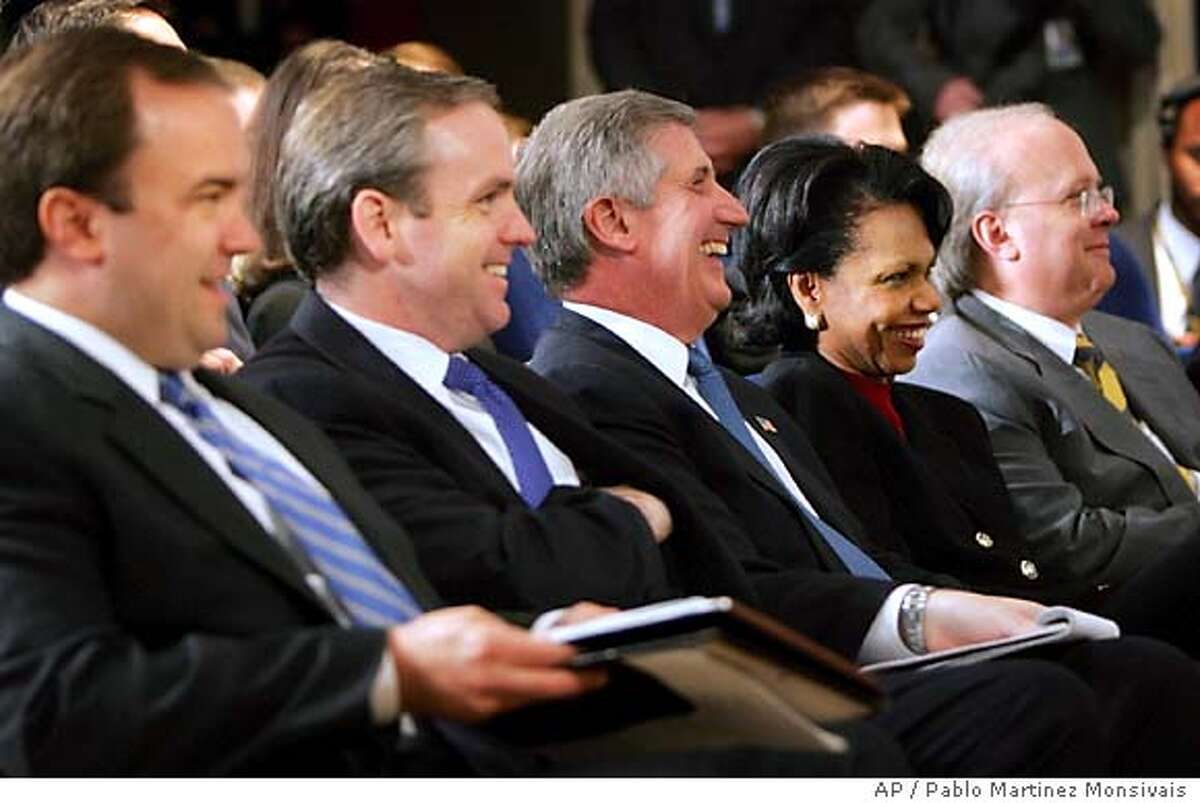 Members of President Bush's staff, from left to right, Press Secretary Scott McClellan, Communications Director Dan Bartlett, White House Chief of Staff Andrew Card, National Security Adviser Condoleezza Rice, and senior adviser Karl Rove, smile as they attend his press conference in Eisenhower Executive Office Building of the White House, Thursday, Nov. 4, 2004 in Washington. (AP Photo/Pablo Martinez Monsivais)