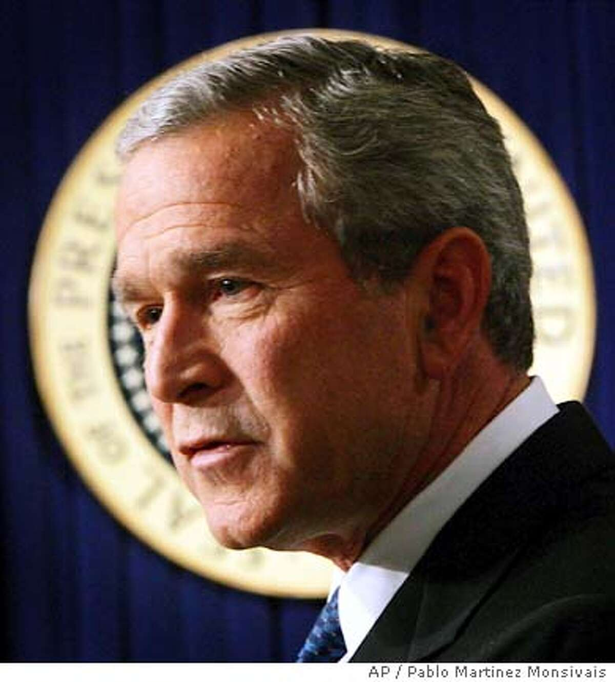 President Bush answers questions during a presss conference at the Eisenhower Executive Office Building of the White House, Thursday, Nov. 4, 2004 in Washington. (AP Photo/Pablo Martinez Monsivais)
