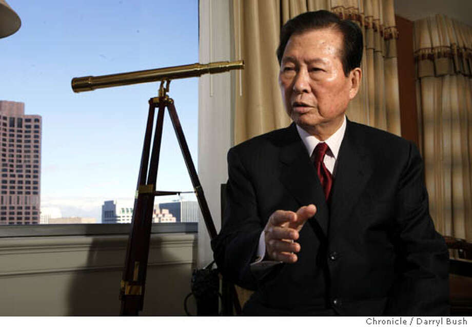 Former South Korean president, Kim Dae Jung speaks from hotel room at Fairmont hotel. Event on 4/28/05 in San Francisco.  Darryl Bush / The Chronicle Photo: Darryl Bush