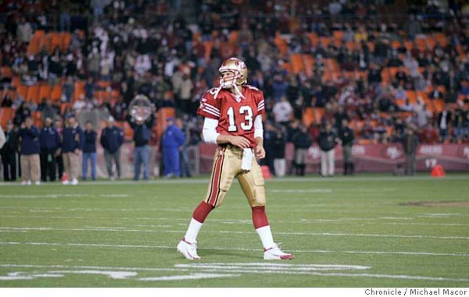 49ers430_mac.jpg On a 4th and 4 yards for a first the Nineres fail to convert Rams take over, SF Tim Rattay walks off the field. San Francisco Forty Niners vs. St. Louis Rams 10/3/04 Michael Macor / San Francisco Chronicle Mandatory Credit for Photographer and San Francisco Chronicle/ - Magazine Out Sports#Sports#Chronicle#11/5/2004#ALL#5star##0422393020 Photo: Michael Macor