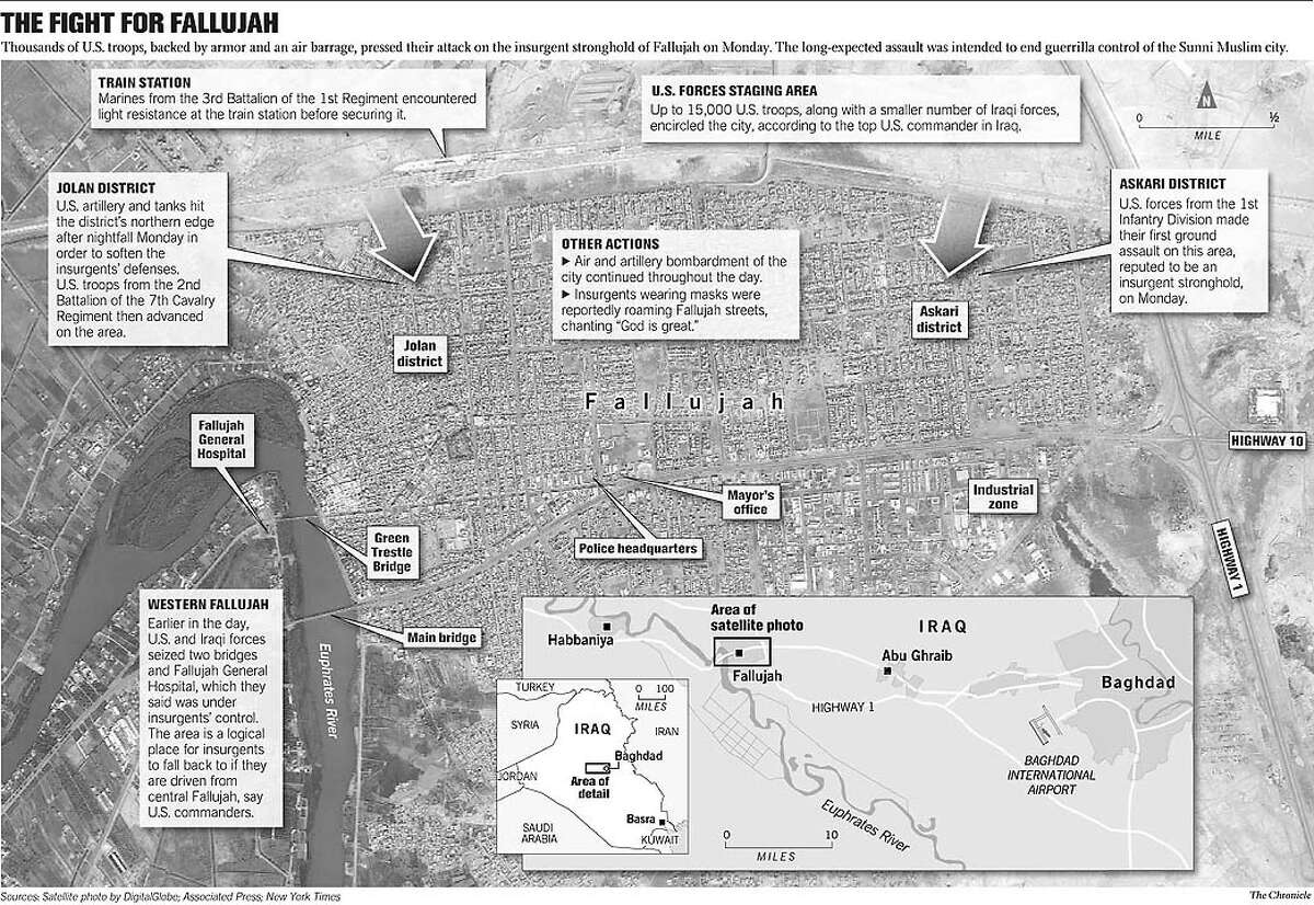 The Fight for Fallujah. Chronicle graphic by Todd Trumbull