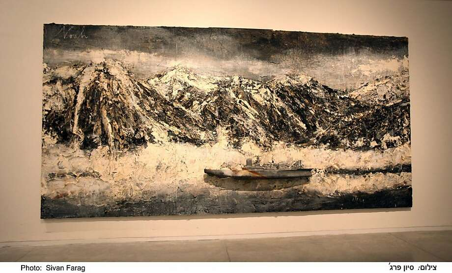 """Noah"" (2011) oil, emulsion, acrylic, shellac, charcoal and lead boat on canvas by Anselm Kiefer   110"" x 220""  collection of the artist Photo: Sivan Farag"