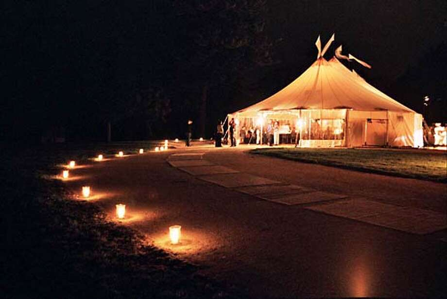 """The Cocktail tent in Sutro Park at the Golden Gate National Parks Conservancy """"Trails'' Dinner. Living#Living#Chronicle#11/7/2004#ALL#2star#E12#0422449337"""