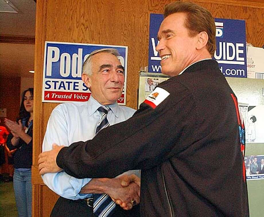 Gov. Arnold Schwarzenegger tried to boost Stockton Mayor Gary Podesto, the GOP candidate for state Senate, but Podesto lost. Associated Press photo by Douglas Rider