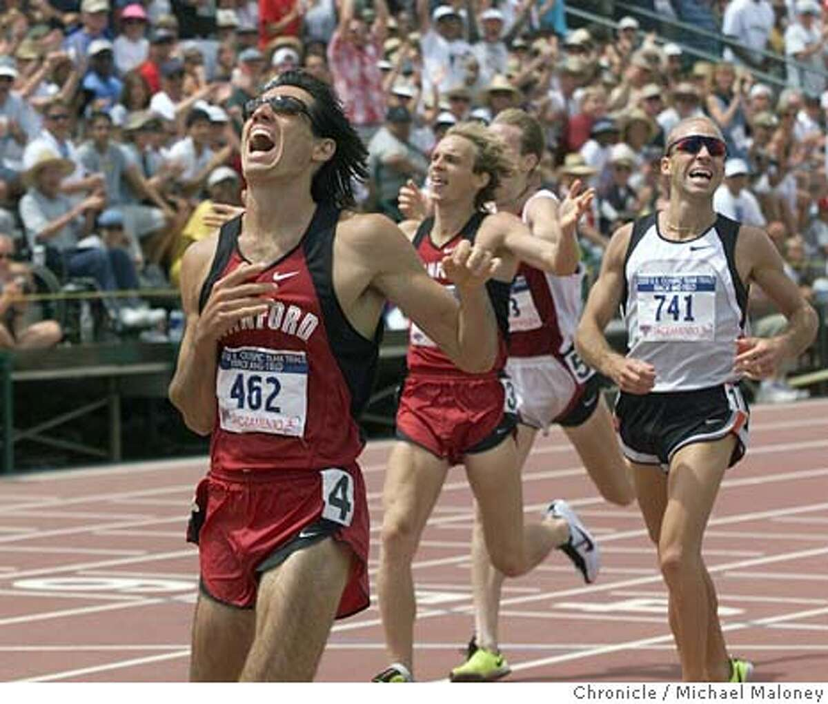 TRACK1500-C-16UL00-SP-MJM Gabe Jennings and Michael Stember cross the finishline in the 1500 meter first and third. #741 is Jason Pyrah who finished 2nd. US Olympic Track and Field Trials at Sacramento State's Hornet Field. CHRONICLE PHOTO BY MICHAEL MALONEY