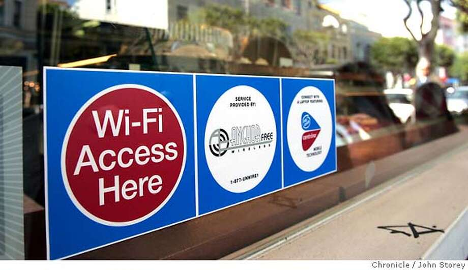 WiFi02_jrs_0020.jpg  A sign in a bakery on Union Street. Story about a new free WiFi network on Union Street in San Francisco. John Storey San Francisco Event on 4/29/05 MANDATORY CREDIT FOR PHOTOG AND SF CHRONICLE/ -MAGS OUT Photo: John Storey