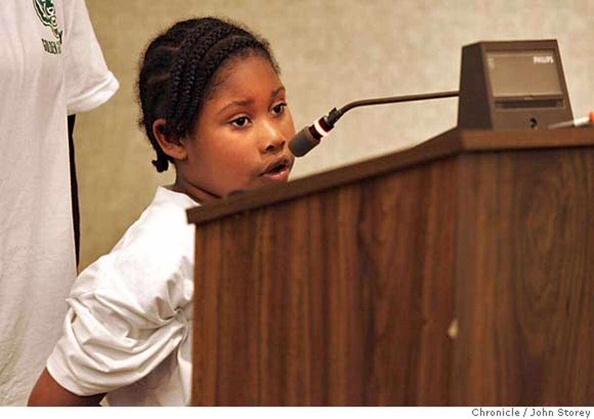 Auzhanee Starks, 6, from Gold Gate Academy speaks before the board.The San Francisco School Board meets to decide to close schools in San Francisco. John Storey San Francisco Event on 4/26/05