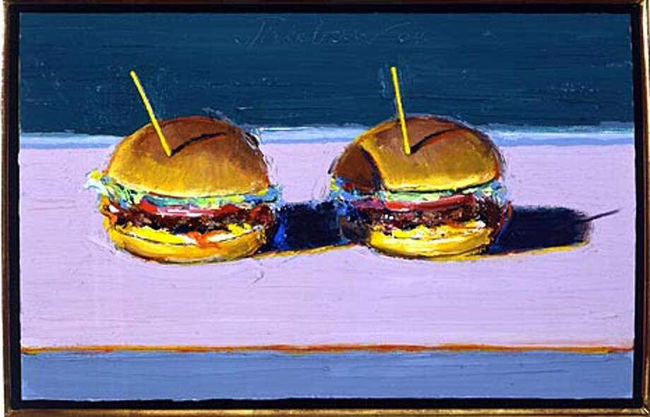 "Wayne Thiebaud's ""Two Burgers,'' on view at the Paul Thiebaud Gallery. Photo courtesy of the Paul Thiebaud Gallery"