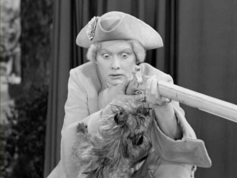 Lucille Ball is masqueraded as Westport's Minuteman statue in the series-ending I Love Lucy episode in 1957. Photo: File Photo / Connecticut Post File Photo