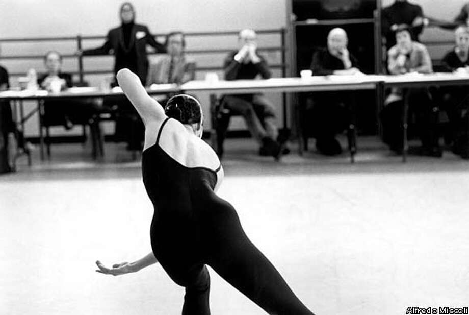 "A dancer auditions before a panel of judges in a scene from ""Juilliard,"" a PBS ""American Masters"" documentary. Photo by Alfredo Miccoli"