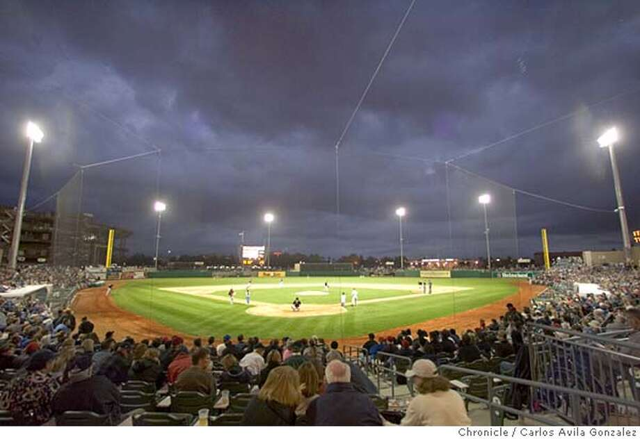 STOCKTON BASEBALL_187_CAG.JPG  The Stockton Ports played the San Jose Giants at the new ballpark in Stockton, Ca., on Thursday, April 28, 2005. The Stockton Ports unveiled their new baseball stadium, Banner Island Ballpark, as they played their first home stand. Photo taken on 04/28/05, in Stockton, Ca. Photo by Carlos Avila Gonzalez/The San Francisco Chronicle MANDATORY CREDIT FOR PHOTOG AND SF CHRONICLE/ -MAGS OUT Photo: Carlos Avila Gonzalez