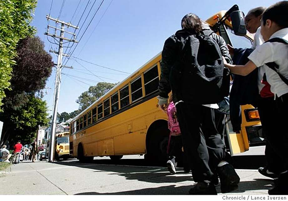 SFSCHOOLS29_014.jpg_  What is the future of the S.F. school district's busing system once the federal court order mandating desegregation expires:  children from Fairmount Elementary School is San Francisco rush to be picked up. By Lance Iversen/San Francisco Chronicle Photo: Lance Iversen