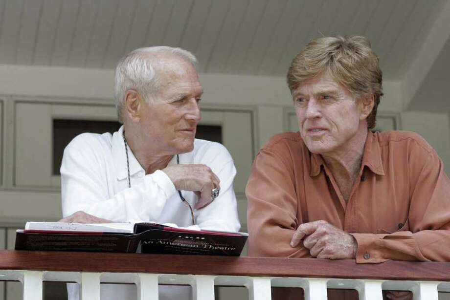"The late Paul Newman, left, and his co-star in ""The Sting,"" Robert Redford, at the Westport Country Playhouse in 2005. The 1973 film will be screened at the Playhouse later this months as a fundraiser for Newman's Hole in the Wall Gang Camp. Photo: Associated Press"