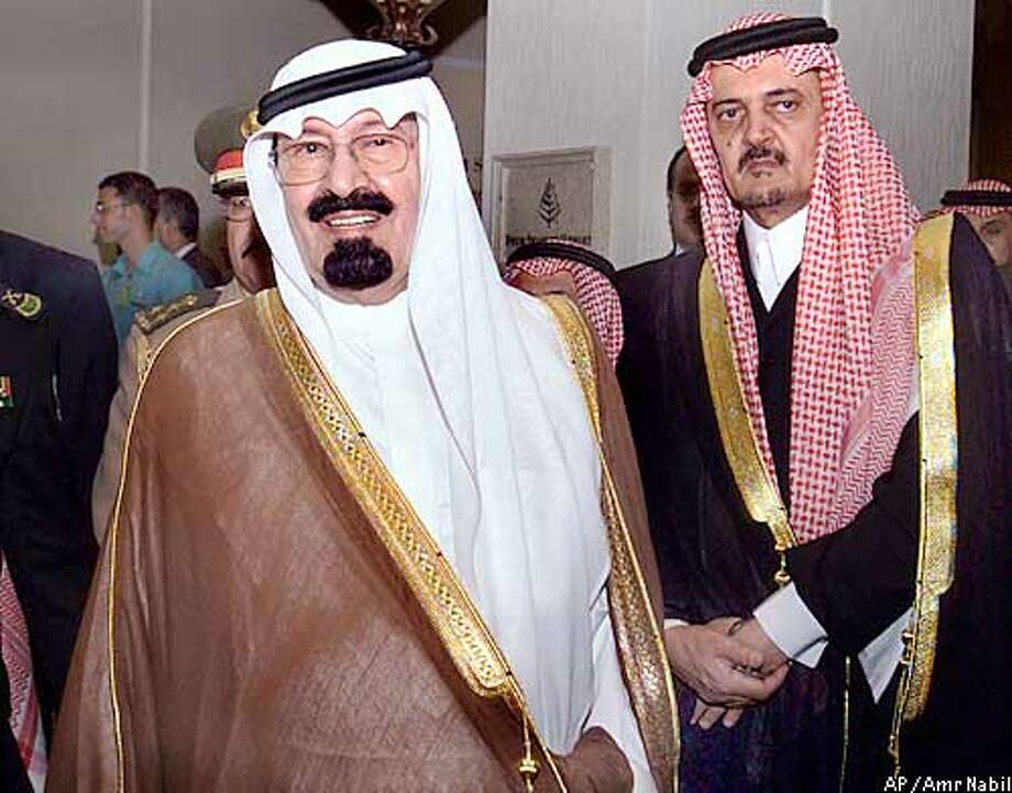 Saudi Crown Prince Abdullah, left, and Foreign Minister Prince Saud al-Faisal, right, leave a meeting with Egyptian President Hosni Mubarak and Syrian Bashar Assad at the Red Sea resort of Sharm el-Sheik Sunday May 12, 2002. (AP Photo/Amr Nabil) Photo: AMR NABIL