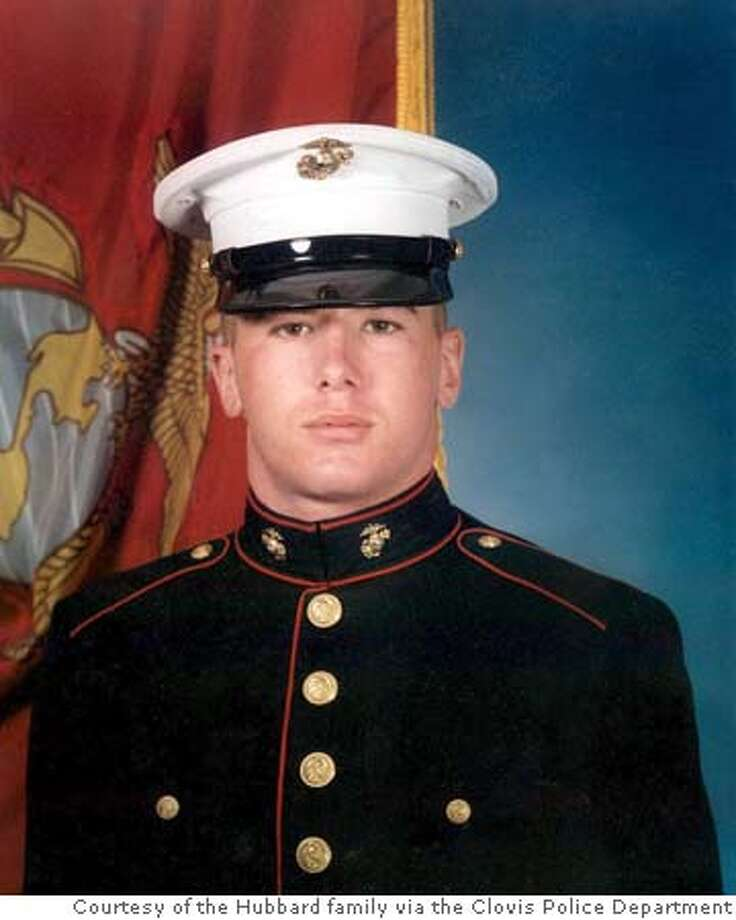 Marine Lance Cpl. Jared Hubbard is seen in an undated photo. Hubbard was killed Wednesday, Nov. 4, 2004, in an explosion in the Iraqi city of Ramadi. He was 22. (AP Photo/Courtesy of the Hubbard family via the Clovis Police Department) Metro#Metro#Chronicle#11/6/2004#ALL#5star##0422453105
