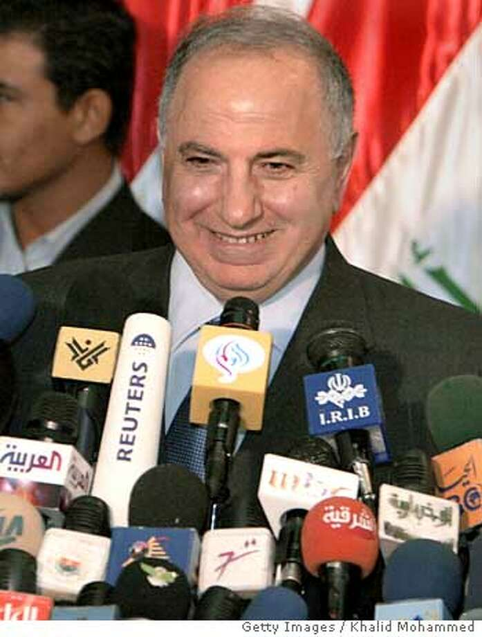 BAGHDAD, IRAQ - APRIL 28: Ahmad Chalabi, a former Pentagon favorite from al-Jaafari's Shiite-dominated alliance, speaks during a news conference at the convention center after it was announced he will be one of four Iraqi deputy prime ministers and acting Iraqi oil minister April 28, 2005 in Baghdad, Iraq. The National Assembly Thursday approved a partial cabinet, including 27 ministers and five acting ministers, ushering in Iraq's first elected government since the fall of Saddam Hussein. (Photo by Khalid Mohammed-Pool/Getty Images) *** Local Caption *** Ahmad Chalabi Ran on: 04-29-2005  Ahmed Chalabi Ran on: 04-29-2005  Ahmed Chalabi Ran on: 04-29-2005  Ahmed Chalabi Photo: Pool