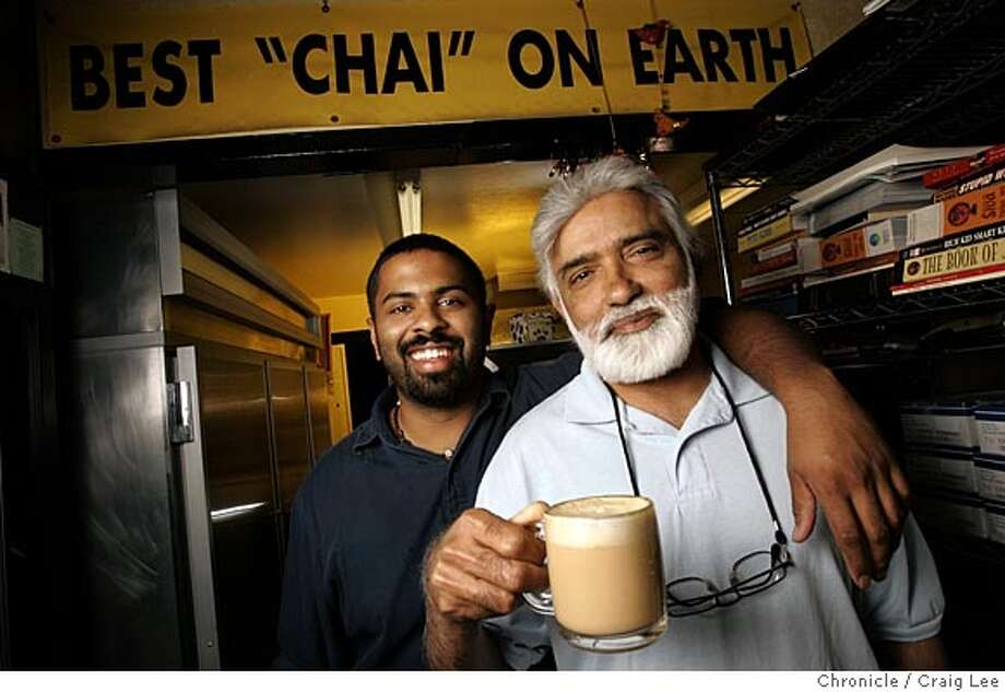 Photo of Raman Belchar (right) and his son, Raj, with a cup of Chai. The real Chai. The drink is all over coffee houses, and new products keep debuting to make it at home, but none compare to the one and only chai at Coastside Gourmet Coffee Tea & Health Nuts in Half Moon Bay. Owner Raman Belchar and his son, Raj, makes the delicious milky sweet Chai that tastes like what you get in India.  Event on 4/11/05 in Half Moon Bay. Craig Lee / The Chronicle Photo: Craig Lee
