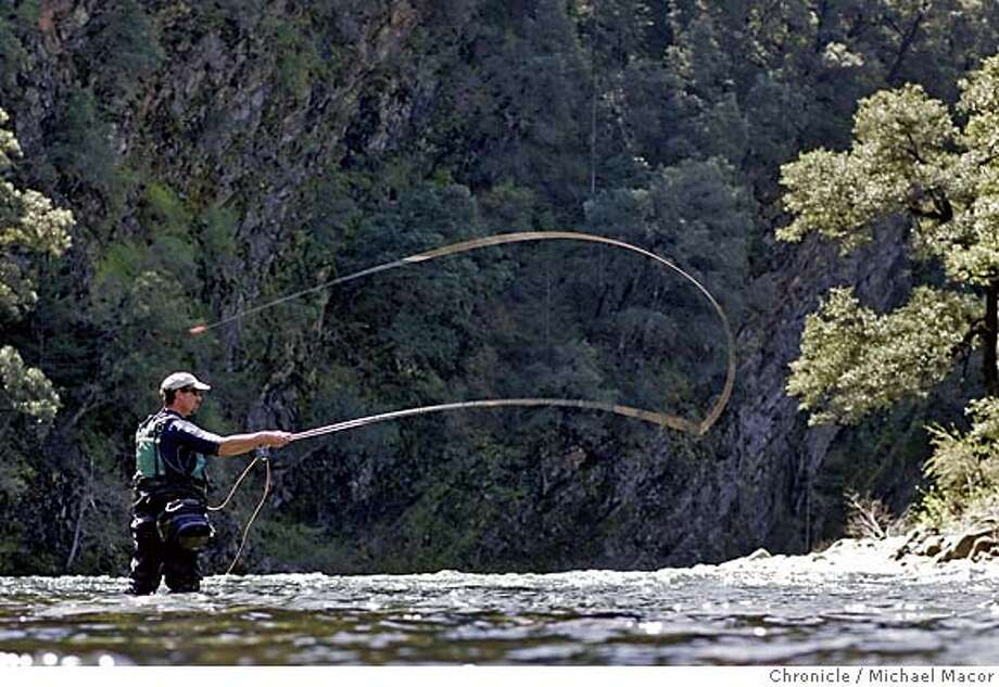 trout_138_mac.jpg Jack Trout, ventures out into the Upper Sacramento for a few casts into the waters. Fishing the upper Sacramento River with the guide services of Jack Trout, floating down the river by raft. 4/15/05 Mt. Shasta, Ca Michael Macor / San Francisco Chronicle Mandatory Credit for Photographer and San Francisco Chronicle/ - Magazine Out Photo: Michael Macor