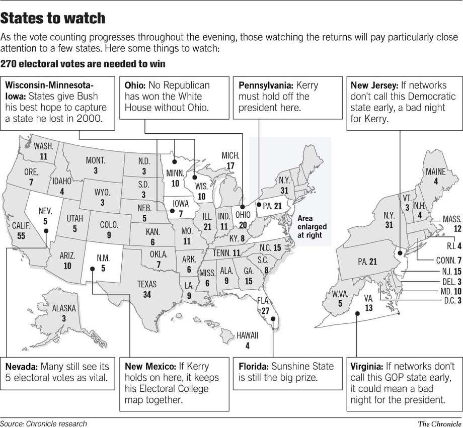 States to Watch. Chronicle Graphic Photo: Joe Shoulak
