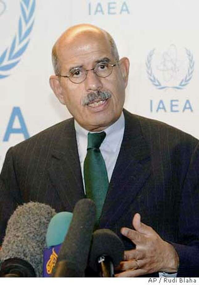 ** FILE **Director General of the International Atomic Energy Agency (IAEA) Mohamed ElBaradei is shown in Vienna Sept. 13, 2004. Several hundred tons of conventional explosives are missing from a former Iraqi military facility that once played a key role in Saddam Hussein's efforts to build a nuclear bomb, the U.N. nuclear agency confirmed Monday, Oct. 25, 2004. ElBaradei will report the materials' disappearance to the U.N. Security Council later Monday, according to a spokeswoman. (AP Photo/Rudi Blaha, File) Ran on: 11-02-2004  Mohamed ElBaradei: &quo;It's unfortunate that it's taking a political spin. That's not ours.&quo; Ran on: 11-02-2004  Mohamed ElBaradei: &quo;It's unfortunate that it's taking a political spin. That's not ours.&quo; Photo: RUDI BLAHA