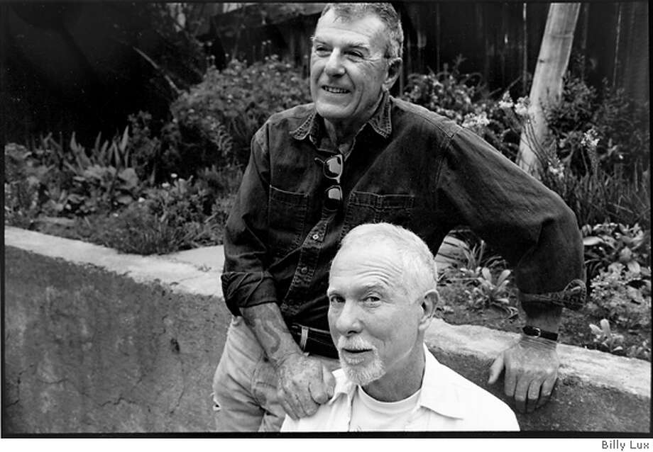 Thom Gunn (top) with his partner Mike Kitay in garden of their Cole Street home.