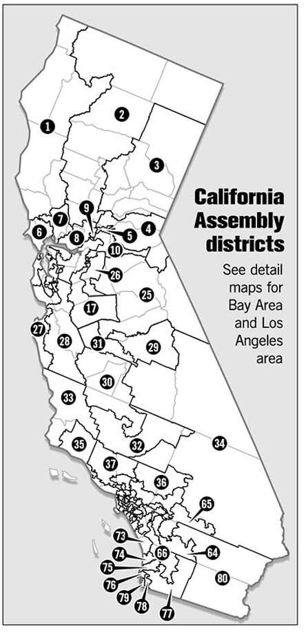 California Assembly Districts. Chronicle Graphic