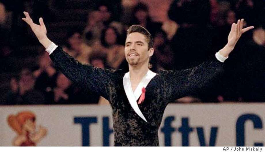 """FILE -- U. S. Men's 1996 Figure Skating Champion Rudy Galindo, of San Jose, Calif., acknowledges the applause in an exhibition in the San Jose, Calif. Arena, in this Jan. 21, 1996 file photo. USA Today reported Wednesday, April 5, 2000 that Galindo is HIV-positive. Galindo, who is openly gay, says he was diagnosed with HIV on March 1 while being treated for pneumonia. """"People always think that it can't happen to them, but it can,'' Galindo, 30, told the newspaper. """"I didn't want to hide this illness. I didn't want to live a lie. I've always wanted to be truthful.'' (AP Photo/ John Makely) Ran on: 04-27-2005  Rudy Galindo is glad to perform again in San Jose, where he won the 1966 U.S. men's figure-skating championship. Ran on: 04-27-2005 Ran on: 04-27-2005  Rudy Galindo is glad to perform again in San Jose, where he won the 1966 U.S. men's figure-skating championship. Ran on: 04-27-2005  Rudy Galindo is glad to perform again in San Jose, where he won the 1966 U.S. men's figure-skating championship. Photo: JOHN MAKELY"""