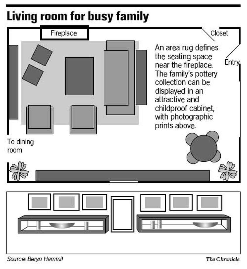 Living Room for Busy Family. Chronicle Graphic