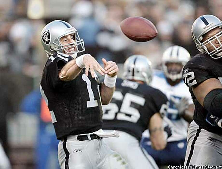 Rich Gannon threw for a short gain in the second quarter. Raiders against the Tennessee Titans in AFC championship game. BY CHRIS STEWART/CHRONICLE Photo: BRANT WARD