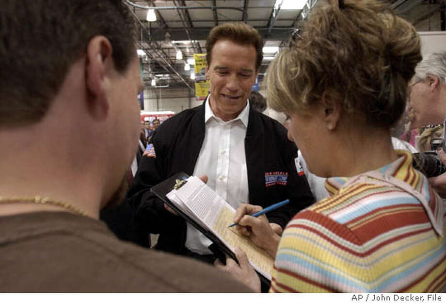 California Gov. Arnold Schwarzenegger collects signatures for a ballot initiative aimed at overhauling the worker's compensation insurance program in California during a visit to a store in Roseville, Calif., Wednesday, March 24, 2004. The governor has given legislators until Friday to come up with legislation he can sign or he has promised to take the measure to the ballot box as an initiative. (AP Photo/John Decker, Pool) POOL Gov. Arnold Schwarzenegger collects signatures for a ballot initiative to change the workers' compensation program. Ran on: 04-22-2005  Gov. Arnold Schwarzenegger collects signatures for a ballot initiative aimed at last month in Roseville, Placer County. Ran on: 04-22-2005  Gov. Arnold Schwarzenegger collects signatures for a ballot initiative at an event last month in Roseville, Placer County. Ran on: 04-22-2005  Gov. Arnold Schwarzenegger collects signatures for a ballot initiative at an event last month in Roseville, Placer County. Photo: JOHN DECKER