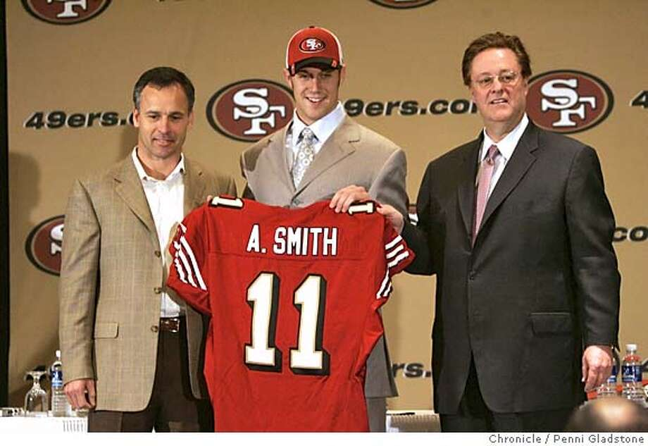 49ers_024_PG.JPG coach Mike Nolan, Smith and (please ck this) owner Dr. John York...?  49ers introduce the No. 1 pick in the draft, Alex Smith, their quarterback of the future. Press conference held at the Santa Clara Hilton. Smith and 49ers coach Mike Nolan The San Francisco Chronicle, Penni Gladstone  Photo taken on 4/24/05, in Santa Clara, Photo: Penni Gladstone