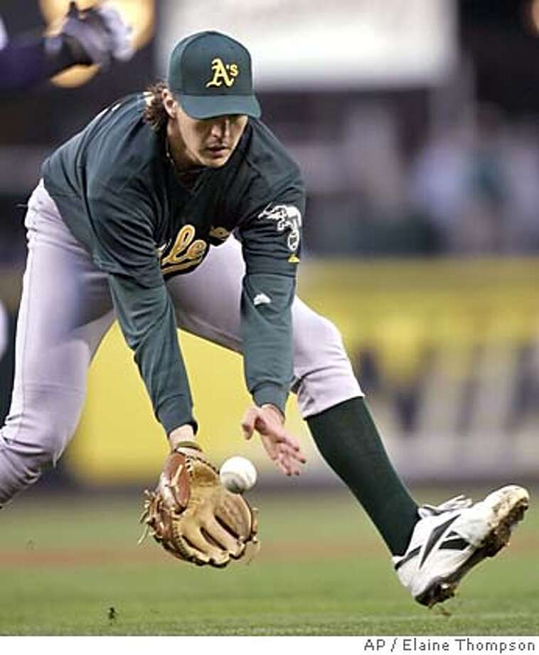 Oakland Athletics starting pitcher Barry Zito fields a grounder from Seattle Mariners' Wilson Valdez in the second inning, Wednesday, April 20, 2005, in Seattle. Zito completed the throw to first for the out. (AP Photo/Elaine Thompson) Photo: ELAINE THOMPSON