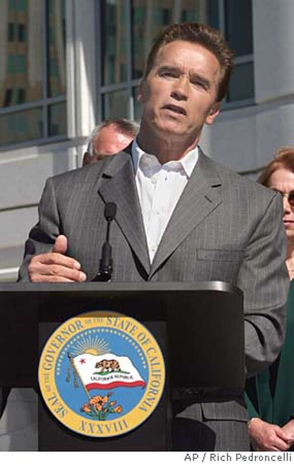 "Gov. Arnold Schwarzenegger told reporters he was sorry about his comments, made Tuesday, that the United States should ""close"" its borders, during a news conference held in Sacramento, Calif., Wednesday, April 20, 2006. Blaming his faulty English, Gov. Arnold Schwarzenegger on Wednesday said he misspoke when he suggested that California's border with Mexico should be closed to help solve the nation's illegal immigration problem. (AP Photo/Rich Pedroncelli) Photo: RICH PEDRONCELLI"