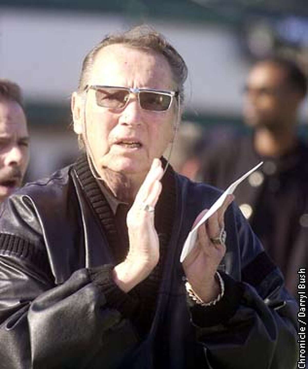 .jpg Raiders owner Al Davis on the field before the start of the game. The Oakland Raiders play the Tennessee Titans in the AFC championship game in Oakland, Ca. January 19, 2003. Darryl Bush/San Francisco Chronicle