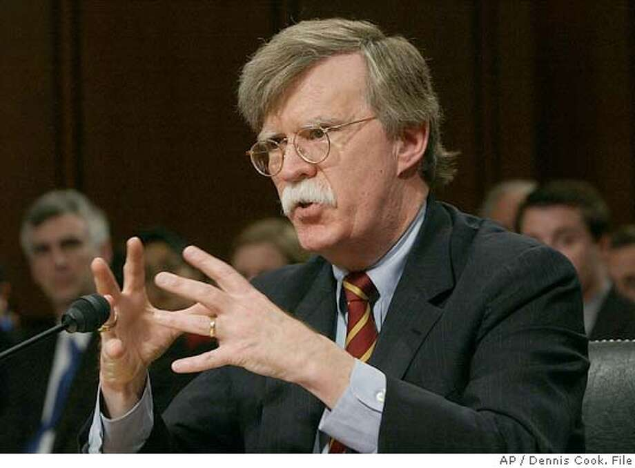 John Bolton appears before the Senate Foreign Relations Committee on Capitol Hill Monday, April 11, 2005, on his nomination to be ambassador to the United Nations. Bolton, a blunt diplomat whose nomination is opposed by most Democrats and a chunk of the foreign policy establishment, pledged Monday to help strengthen the world body. (AP Photo/Dennis Cook) Photo: DENNIS COOK