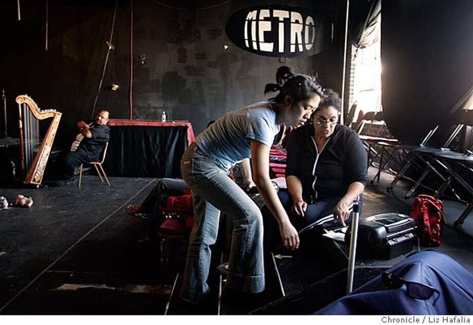 "A rehearsal of ""Being Something"": done by two local nonprofit arts organizations --Opera Piccola, which works with teenagers, and Stagebridge Senior Theatre. This is directed by Ellen Sebastian Chang (right) who is giving instructions to Jane Chen, (left) 15 years old. Shot in Oakland on 4/14/05. Creditted to San Francisco Chronicle/Liz Hafalia Photo: Liz Hafalia"