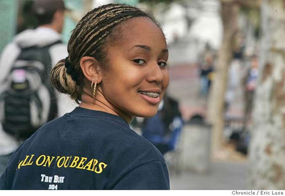 calsuccess_026_el.jpg  Danielle Rockett, 20, who works at the Cal Student Store shows off her Cal t-shirt at UC Berkeley. Cal football's success this season, we'd like a few photos of their merchandise on display at a Berkeley store. In particular, there is a dark blue Cal t-shirt that says Roll On You Bears on the back, it has been a huge seller.  A photo of anyone hanging around Sproul Plaza wearing Cal gear would also be useful.Event on 10/29/04 in Berkeley. Eric Luse / The Chronicle MANDATORY CREDIT FOR PHOTOG AND SF CHRONICLE/ -MAGS OUT Sports#Sports#Chronicle#10/30/2004#ALL#5star##0422438110 Photo: Eric Luse