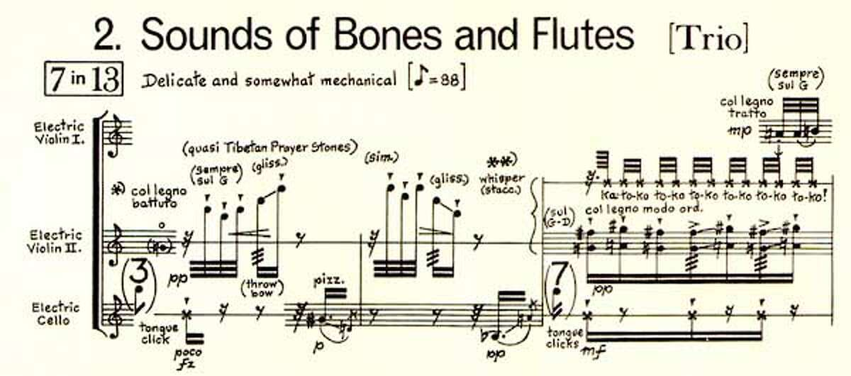 Portion of score of BLACK ANGELS by George Crumb. HANDOUT PHOTO/VERIFY RIGHTS AND USEAGE