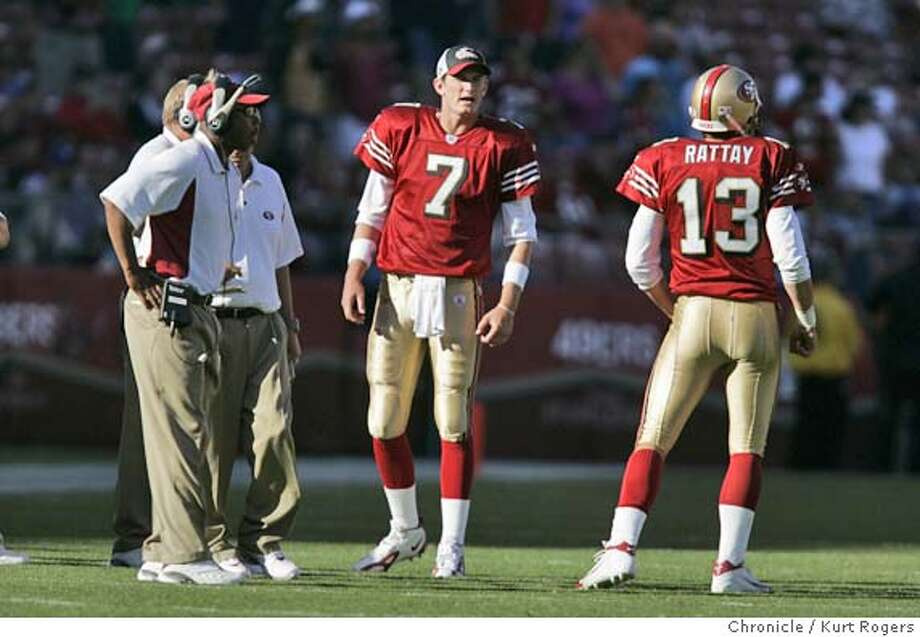 Tim Rattay called time out in the 4th quarter went to the sideline to talk to the coaches and Ken Dorsey #7  The San Francisco 49ers Vs. Arizona Cardinals at Monster park in San Francisco.  49ERS_839_kr.JPG 10/10/04 in San Francisco,CA.  KURT ROGERS/THE CHRONICLE MANDATORY CREDIT FOR PHOTOG AND SF CHRONICLE/ -MAGS OUT Sports#Sports#Chronicle#10/30/2004#ALL#5star##0422406543 Photo: KURT ROGERS