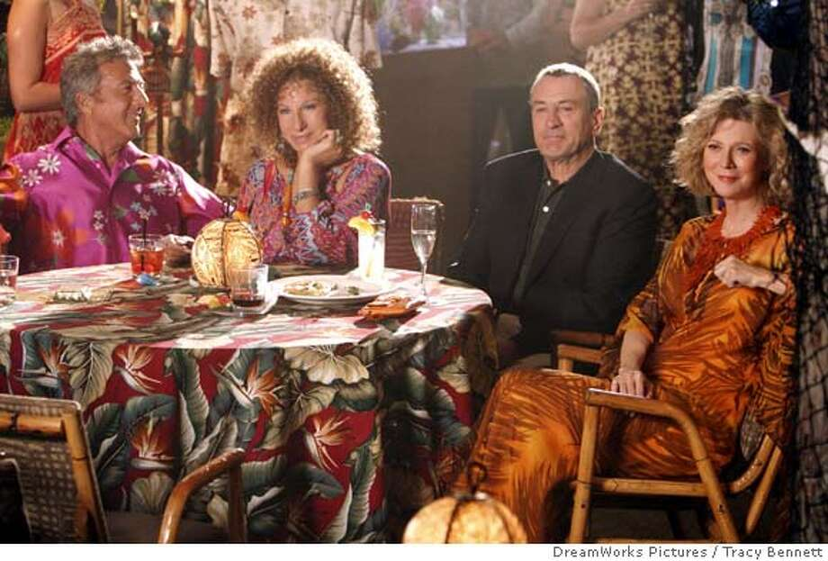 "In this photo provided by Universal Pictures and DreamWorks Pictures, Bernie Focker (Dustin Hoffman), with his wife Roz (Barbra Streisand) meet their sons inlaws, Jack Byrnes (Robert DeNiro) and his wife Dina (Blythe Danner) in "" Meet the Fockers."" (AP Photo/ Universal Pictures/ DreamWorks Pictures/Tracy Bennett) Ran on: 12-27-2004  Dustin Hoffman, Barbra Streisand, Robert De Niro and Blythe Danner in &quo;Meet the Fockers.&quo; Datebook#Datebook#Chronicle#12/27/2004#ALL#5star##0422526389 Photo: TRACY BENNETT"