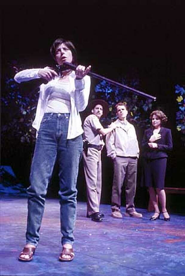 "TheatreWorks ""Book Of Days"" West Coast Premiere January 15 - February 9, 2003 Mountain View Center for the Performing Arts Ruth Hoch (Stacy Ross, front) smells the gun as (l-r) Sheriff Atkins (David Babich), Len Hoch (Mark Phillips), and widow Sharon Bates (Ashleigh Evans) look on.  HANDOUT PHOTO/VERIFY RIGHTS AND USEAGE Photo: HANDOUT"