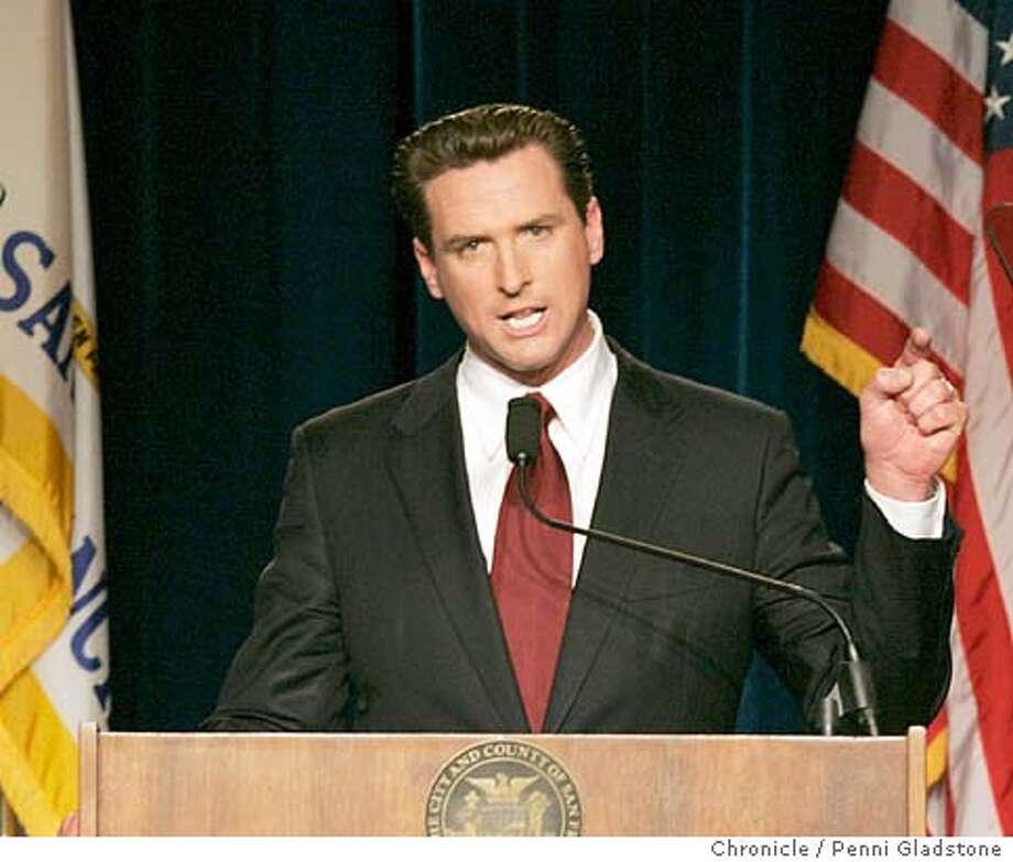"newsom22_041_pg.jpg  San Francisco Mayor Gavin Newsom gives his first annual ""State of the City'' address, Mission High School  SAN FRANCISCO on 10/22/04 by Penni Gladstone  San Francisco Chronicle Politics#MainNews#Chronicle#10/30/2004#ALL#5star##0422425592 Photo: Penni Gladstone"