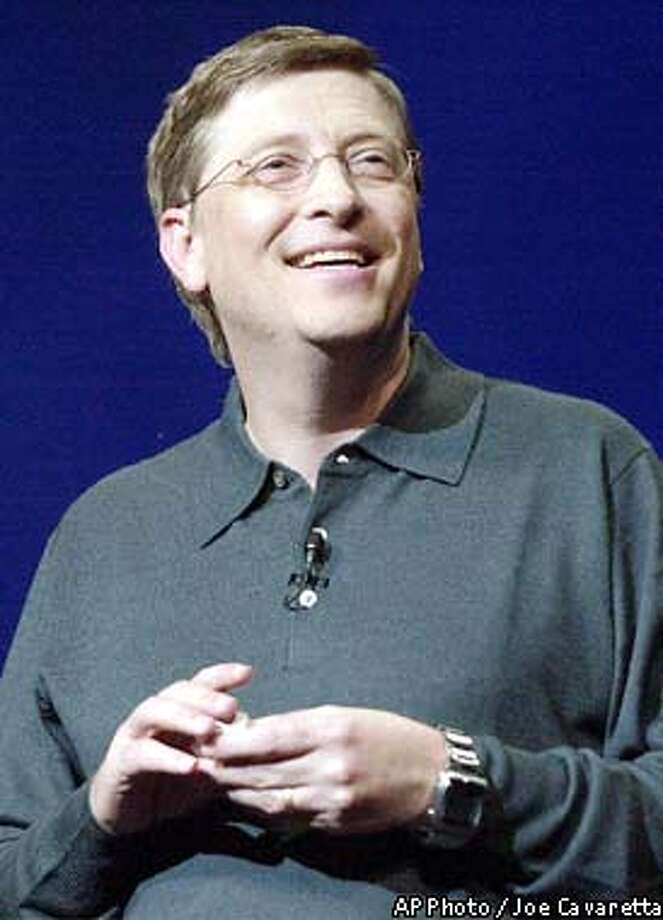 Microsoft chairman Bill Gates speaks, Wednesday, Jan. 8, 2003, at the Las Vegas Hilton as he delivers the keynote address at the International Consumer Electronics Show, a gathering of thousands of vendors hawking the latest in everything from televisions to robots.(AP Photo/Joe Cavaretta) Photo: JOE CAVARETTA