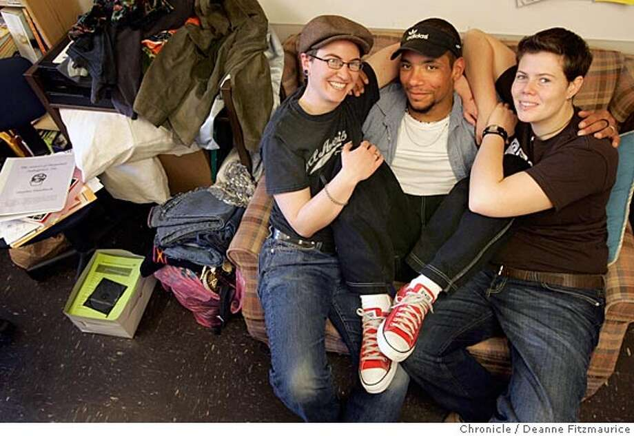 "Three people with the Youth Gender Project meet at the GLBT Center. (l to r) Staff member, Simon Knaphus, 24, and Sebastian Layne, 25, and Erin Singer, 22. Today they are going to talk about a conference they are planning called ""Genderblast"".  San Francisco Chronicle photo by Deanne Fitzmaurice Photo: Deanne Fitzmaurice"