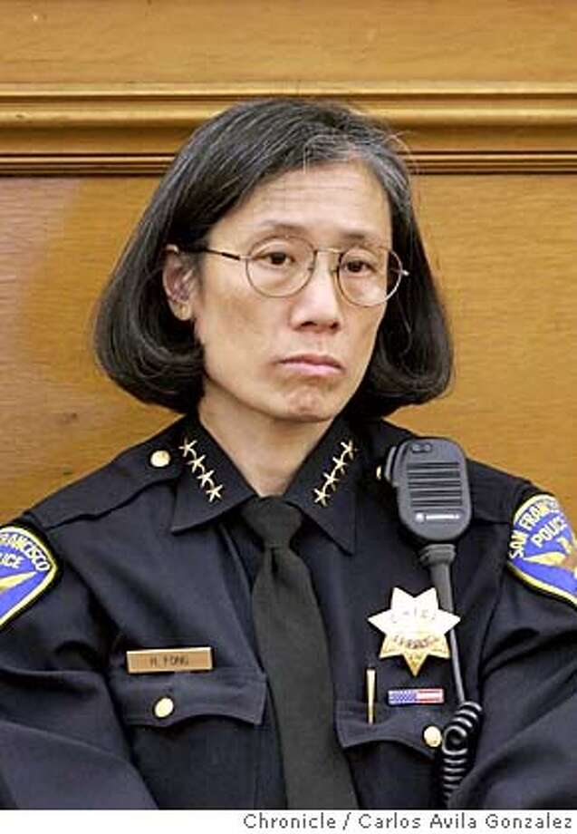 SFPD011_CAG.JPG San Francisco Police Department Chief, Heather Fong. Photo taken on 10/06/04, in San Francisco, Ca. Photo by Carlos Avila Gonzalez/The San Francisco Chronicle MANDATORY CREDIT FOR PHOTOG AND SF CHRONICLE/ -MAGS OUT Photo: Carlos Avila Gonzalez
