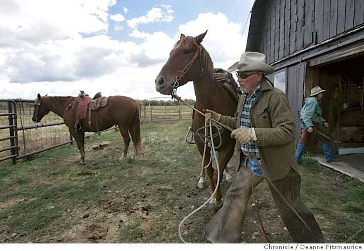 energy_452_df.JPG John Andrikopoulos returns to the barn after he drives cattle on his ranch in the Pinedale area. There is a boom in natural-gas production in Wyoming, particularly in this Pinedale area. Drilling is taking place along a migratory route for animals including elk and antelope. Most ranchers have no mineral rights to their land and lose land value and production as drilling takes place on their property. Deanne Fitzmaurice / The Chronicle MANDATORY CREDIT FOR PHOTOG AND SF CHRONICLE/ -MAGS OUT #MainNews#Chronicle#10/25/2004####0422386252