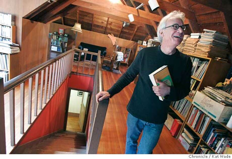 "On 4/12/05 in Berkeley Greil Marcus, one of the country's leading music critics, who has published a book about Bob Dylan's record, ""Like a Rolling Stone,"" poses for a portrait in the attic office of his Berkeley home where he does his writing.  Kat Wade/ The Chronicle Photo: Kat Wade"