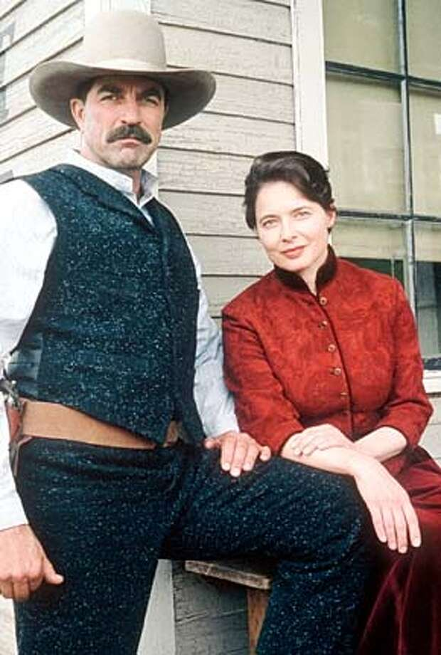 "Tom Selleck, left, as a master bronc buster and Isabella Rossellini as the town whore bring a seasoned sensuality to this midlife relationship in TNT's ""Monte Walsh."""